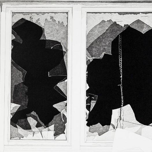 Fenster (groß), 2016, Reduktionsschnitt 6 Farben, 56 x 74 cm, Edition 4/12 + 2