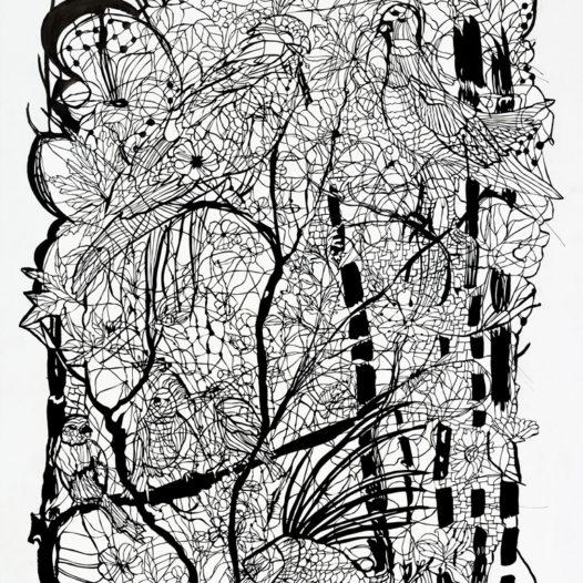 Fasan, 2013, Papierschnitt schwarz, 113 x 90 cm