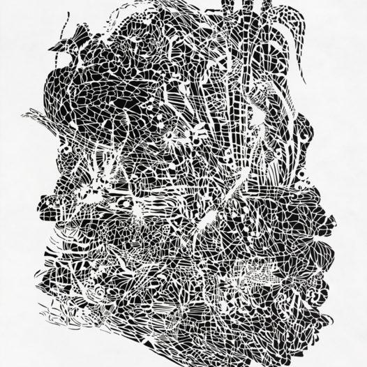 Schilf, 2014, Papierschnitt weiß, 113 x 91,5 cm