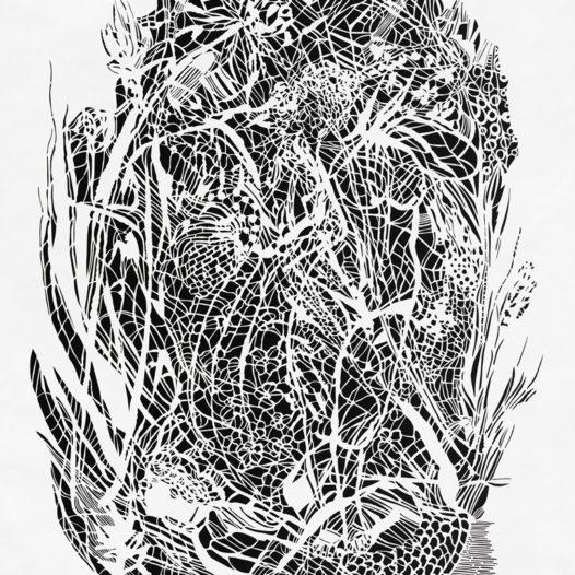 Wal, 2014, Papierschnitt weiß, 113 x 91,5 cm