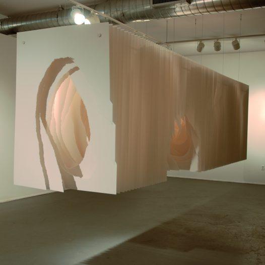 Terforation 2012-014, Papier 300g, gerissen, Halterung aus Metall und Kunststoff, 140 x 100 x 500 cm