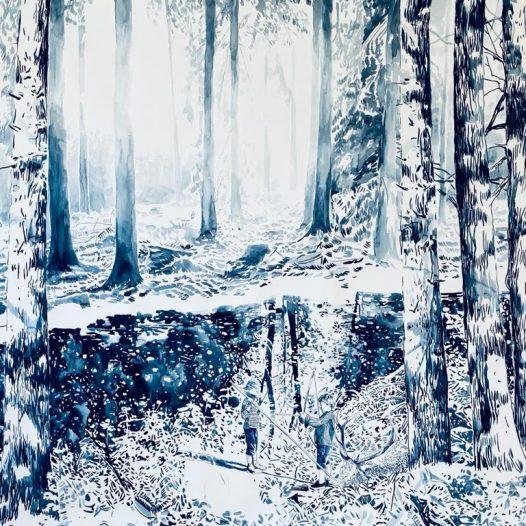 Ausflug, 2021, 100 x 130 cm, Tusche auf Papier