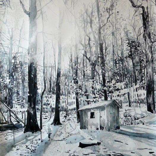 Blaue Hütte im Winter, 2014, 150 x 110 cm, Tusche auf Papier