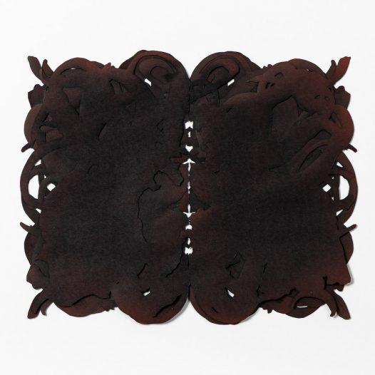 O.T., 2020 (braun), 4-lagig, Papierschnitt und Acryllack, 23 x 30 cm