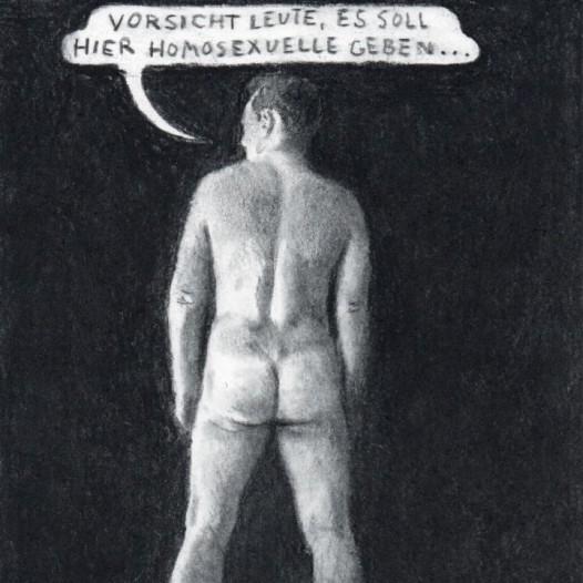 O.T. (Vorsicht Leute), 2018, Kohle auf Papier, 21 x 14,5 cm