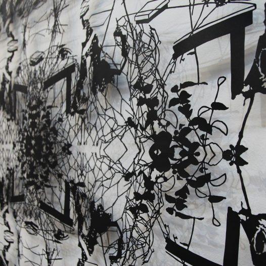 Ohne Titel, 2014 (Detail), 139 x 302 cm, Papierschnitt, lackiert