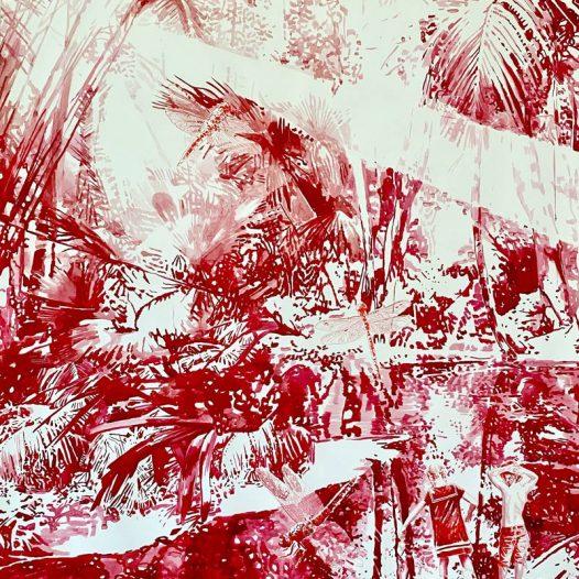 Urwald, 2021, 150 x 100 cm, Tusche auf Papier