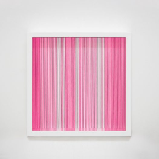 Illusion_m2, 2018, Fäden, Holzrahmen, 50 x 50 cm