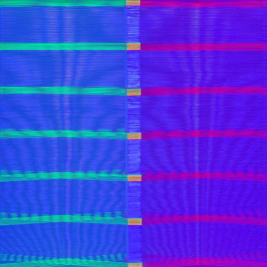 Illusion_ym1 (unter UV-Licht), 2018,  Fäden, Holzrahmen, 37 x 37 cm