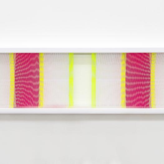 Illusion_ym2, 2018, Fäden, Holzrahmen, 100 x 30 cm