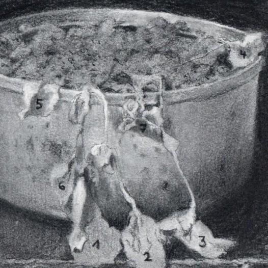 O.T. (in der Dose), 2018, Kohle auf Papier, 14,5 x 21 cm