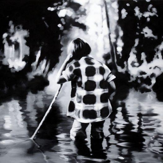 Durchs Wasser, 2012, 120 x 160 cm, Öl auf Leinwand