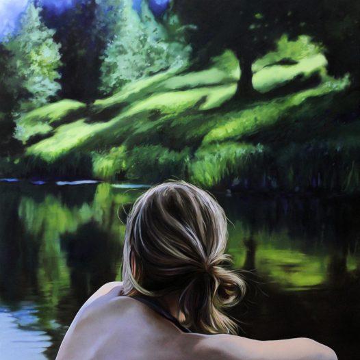Am See, 2017, 100 x 100 cm, Öl auf Leinwand