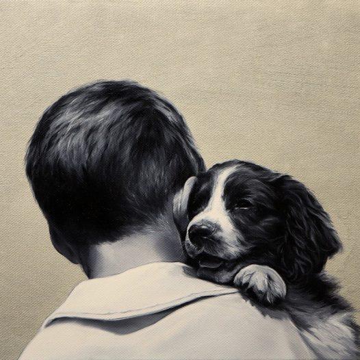 Junge mit Hund, 2019, Öl auf Leinwand, 40 x 50 cm