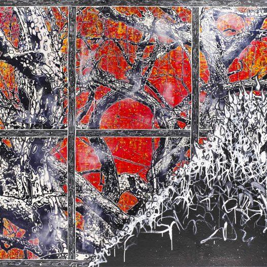 Laubfall, 2019, 140 x 200 cm, Mischtechnik auf Leinwand