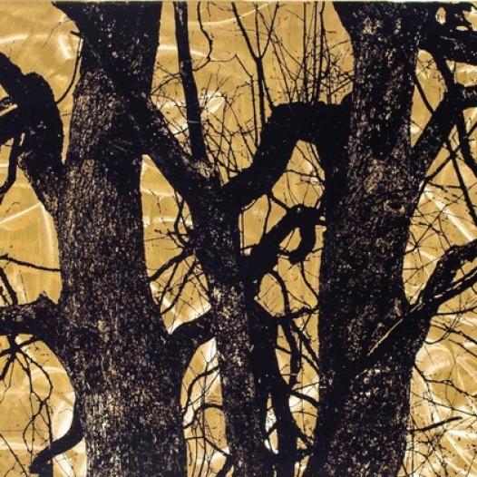 Mehrstamm, 2018, 50 x 70 cm, bearbeiteter Reliefdruck auf Messing, Unikat