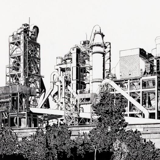 Zementwerk, 2017, Linolschnitt, Handabzug, Druck: 84 x 144 cm, Papier: 105 x 164 cm,  Auflage 5 + 2