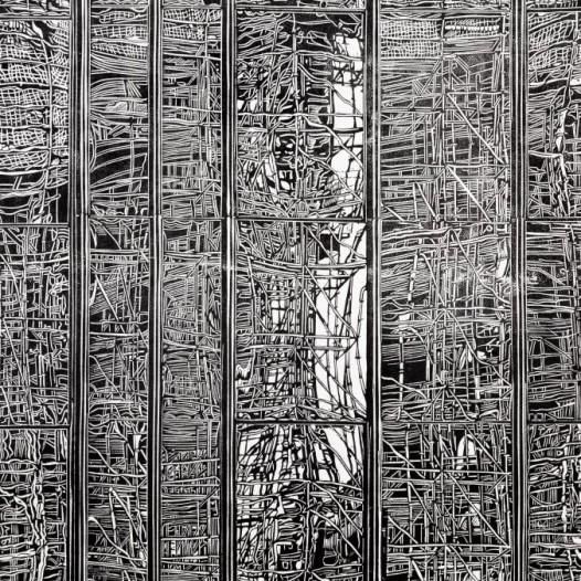 Neubau (Detail), 2018, Handdruck auf Kozo-Abaca-Papier, Druck: 150 x 83,5 cm, Papier: 170 x 103 cm, Auflage 7