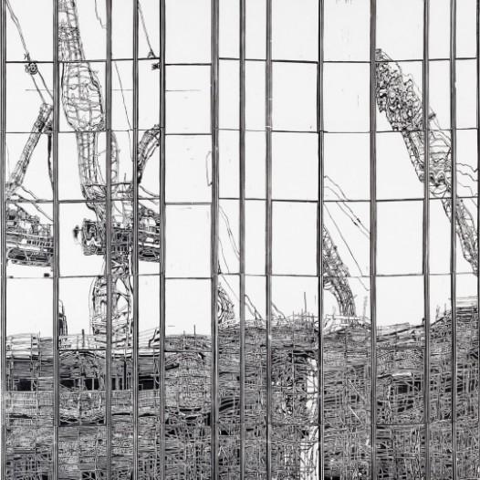 Neubau, 2018, Handdruck auf Kozo-Abaca-Papier, Druck: 150 x 83,5 cm, Papier: 170 x 103 cm, Auflage 7