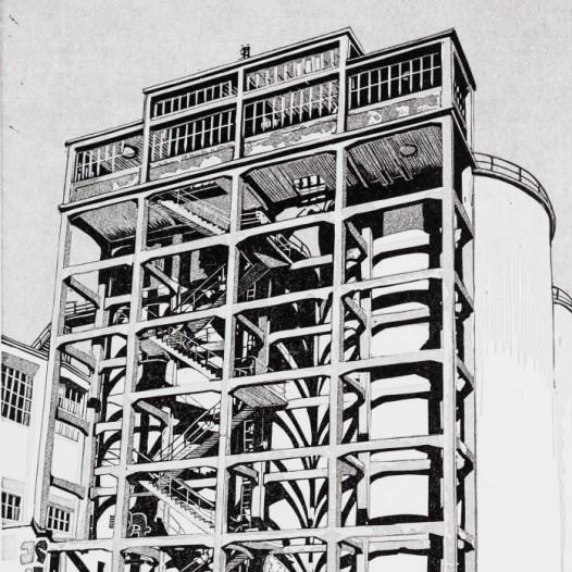Treppe, 2018, Linolschnitt Reduktion (5 Farben), Druck: 30,9 x 24 cm, Papier: 37,5 x 30 cm, Auflage 25