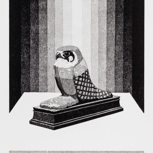 Weihe, 2018, Linolschnitt Reduktion (8 Farben), Druck: 26,8 x 20,8 cm, Papier: 36,8 x 30 cm, Auflage 25