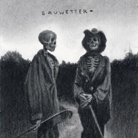 O.T. (Sauwetter), 2018, Kohle auf Papier, 21 x 14,5 cm