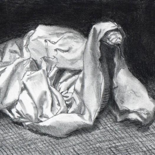 O.T. (Schlange), 2018, Kohle auf Papier, 14,5 x 21 cm