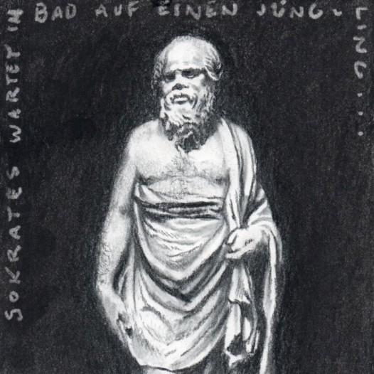 O.T. (Sokrates), 2018, Kohle auf Papier, 21 x 14,5 cm