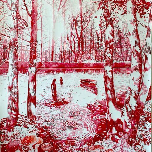 Spätsommer, 2021, 150 x 120 cm, Tusche auf Papier
