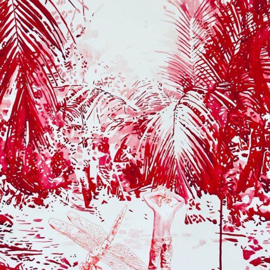 Urwald in rot, 2021, 100 x 70 cm. Tusche auf Papier
