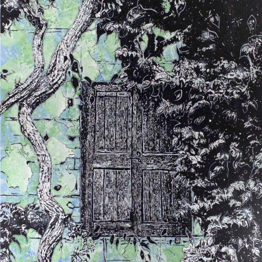 Verwachsener Ausblick, 2019, 200 x 140 cm, Mischtechnik auf Leinwand