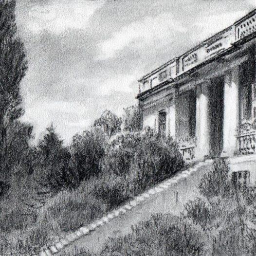 O.T. (Villa), 2018, Kohle auf Papier, 14,5 x 21 cm