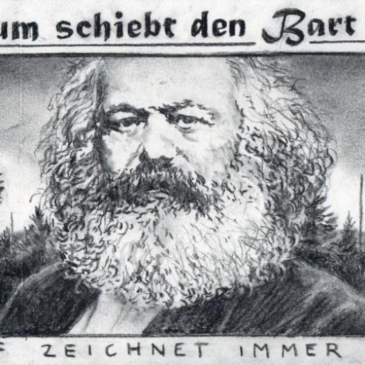 O.T. (Wachstum schiebt den Bart voran), 2019, Kohle auf Papier, 15 x 29,8 cm