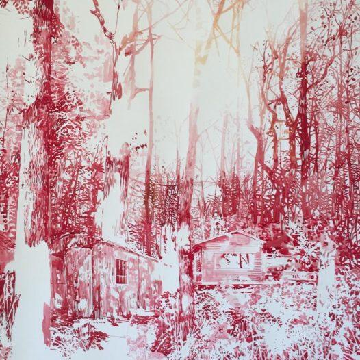Waldhütte im Herbst, 2018, 120 x 94 cm, Tusche auf Papier