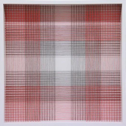 Dear Mondrian, 2012, 50 x 50cm, Fäden, Holzrahmen
