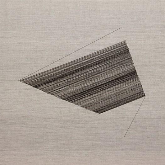 Rendez-Vous II, 2012, Schwarze Fäden auf Leinwand, 70 x 110 cm