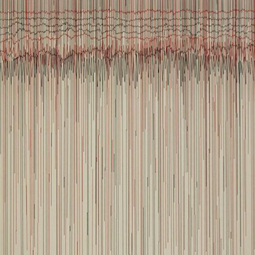 Seismische Partitur, 2014, Fäden auf Leinwand, 100 x 150 cm