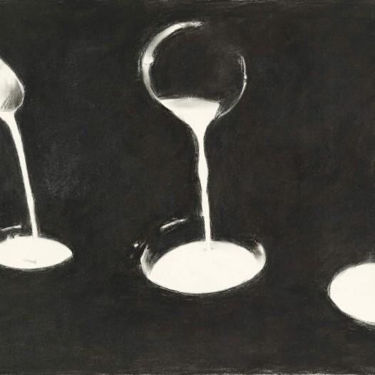 O.T. (Drei Strahle), 2018, Kohle, 64,5 x 105 cm