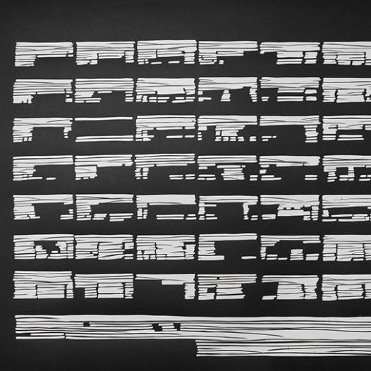 Ohne Titel, 2012, 103 x 143 cm, Papierschnitt