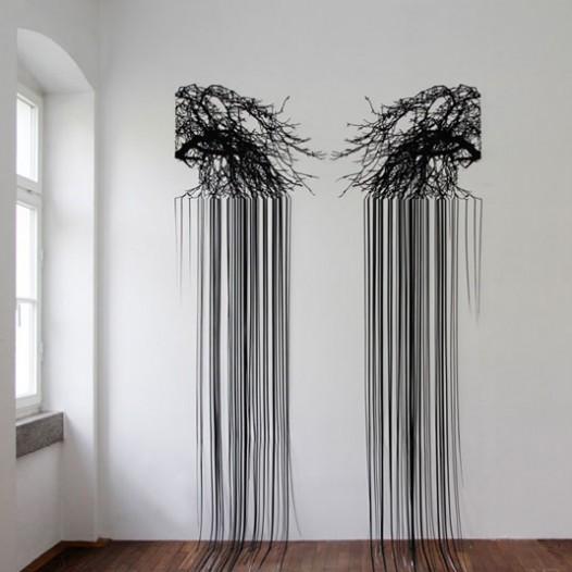Ohne Titel, 2014, 410 x 200 cm, Papierschnitt, lackiert