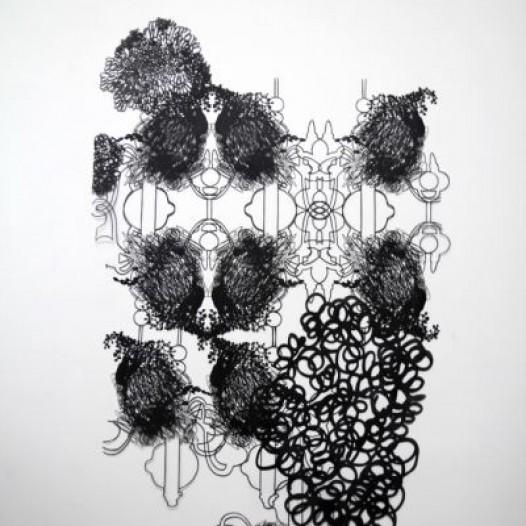 Ohne Titel, 2014, 265 x 150 cm, Papierschnitt, lackiert
