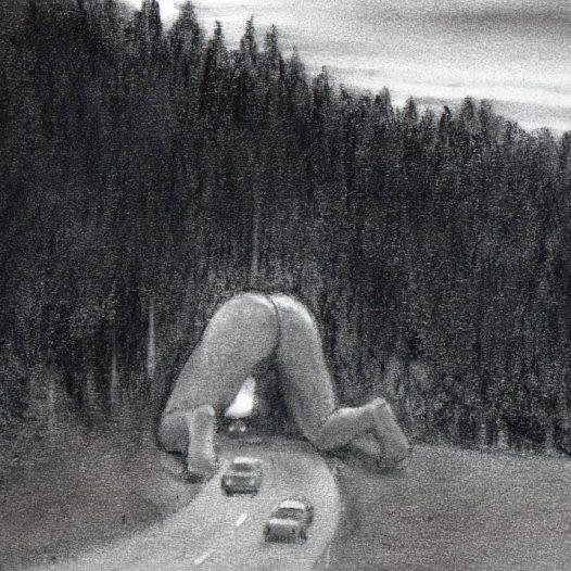 O.T. (nackter Tunnel), 2018, Kohle auf Papier, 14,5 x 21 cm