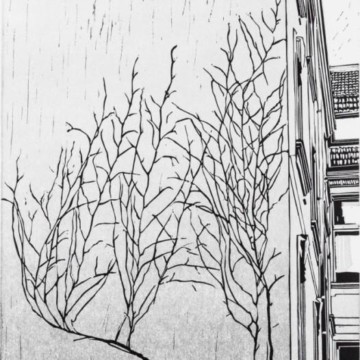 """Aussicht, 2018, Linolschnitt, 2 Farben, Reduktion, Auflage 20, Druck: 29,2 x 20,2 cm, Papier: 39 x 29 cm, Teil des Mappenwerkes """"3 x 2"""" mit weiteren Arbeiten von Sebastian Speckmann und Claas Gutsche"""