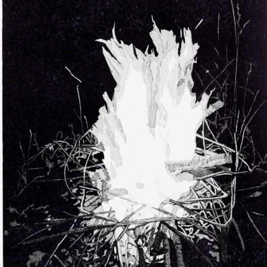 """Feuer, 2018, Linolschnitt, 6 Farben, Reduktion, Auflage 20, Druck: 29,2 x 20,2 cm, Papier: 39 x 29 cm, Teil des Mappenwerkes """"3 x 2"""" mit weiteren Arbeiten von Sebastian Speckmann und Claas Gutsche"""