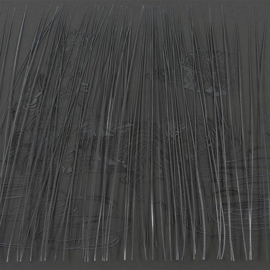 o.T., 2015, Papierschnitt lackiert, zweilagig, 58,5 x 98 cm