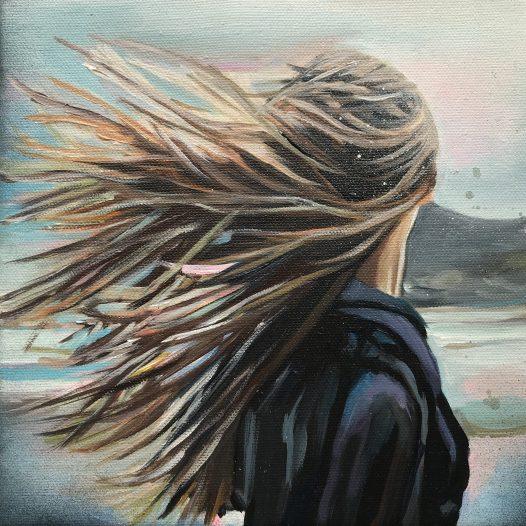 Im Wind, 2018, Mischtechnik auf Leinwand, 20 x 20 cm