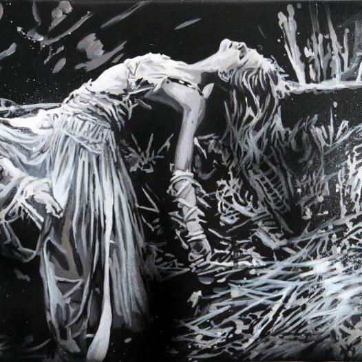 Träumerin, 2018, Mischtechnik auf Leinwand, 30 x 45 cm