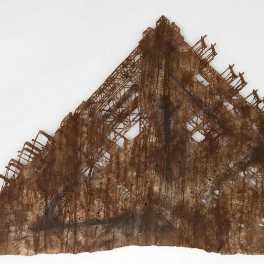 Detroit, 2013, ca. 220 × 430 cm, Bleistift, Graphit, Öl, gerissenes Papier