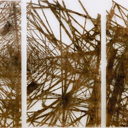 Hybridschrott 2, 2012, ca. 250 × 740 cm, Bleistift, Graphit, Öl, gerissenes Papier