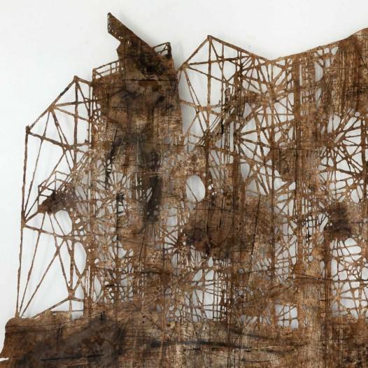 Radar, 2012, ca. 220 × 430 cm, Bleistift, Graphit, Öl, gerissenes Papier